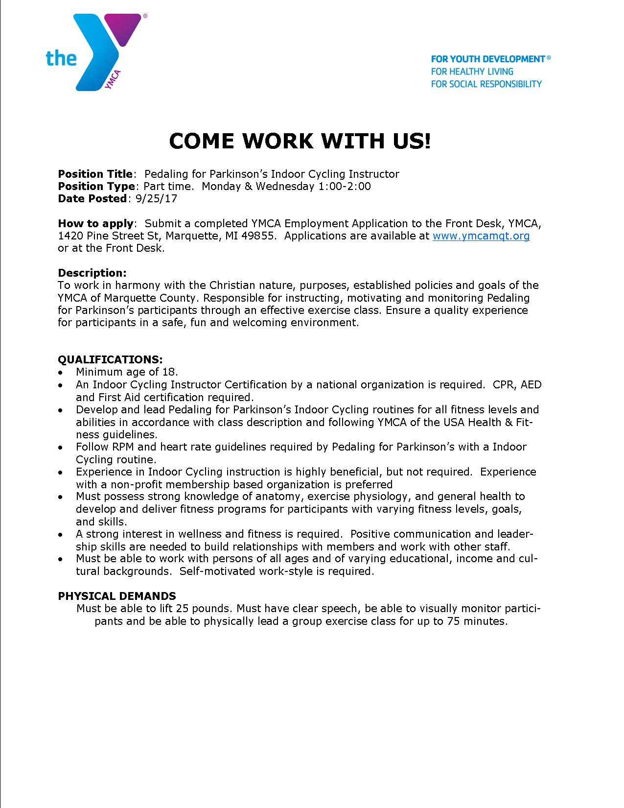YMCA of Marquette County - Current Opportunities