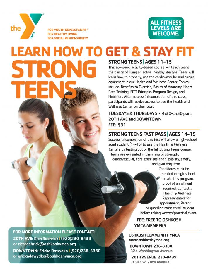 STRONG TEENS (ages 11-15): This six-week, activity based course will teach  teens the basics of living an active, healthy lifestyle.