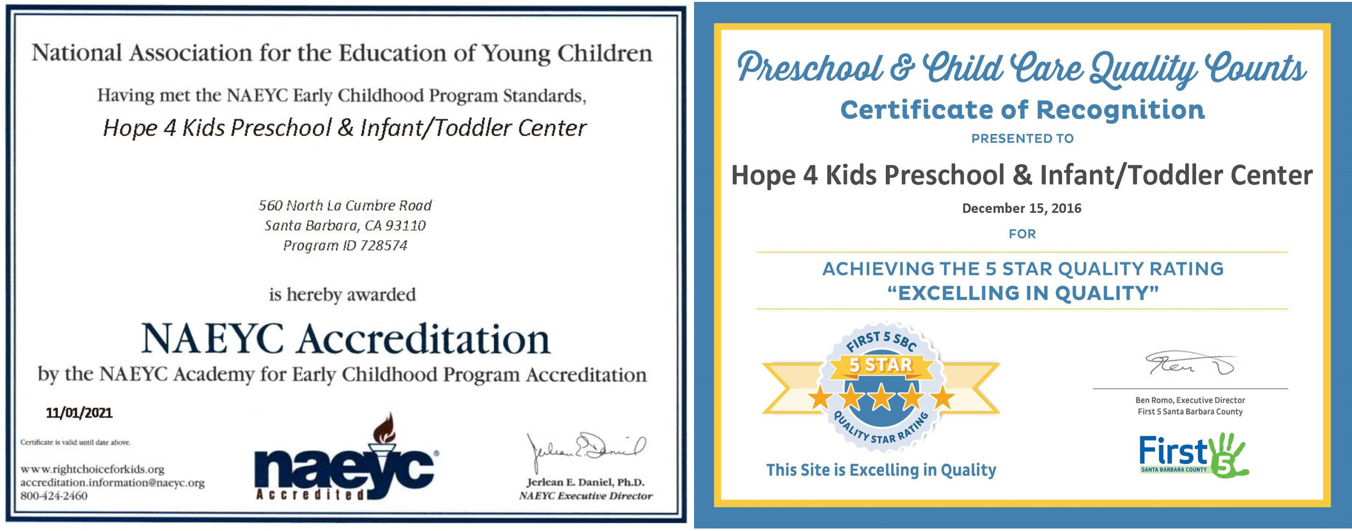 Hope 4 kids early learning child care center quality care for proud to be naeyc accredited excelling in quality xflitez Gallery